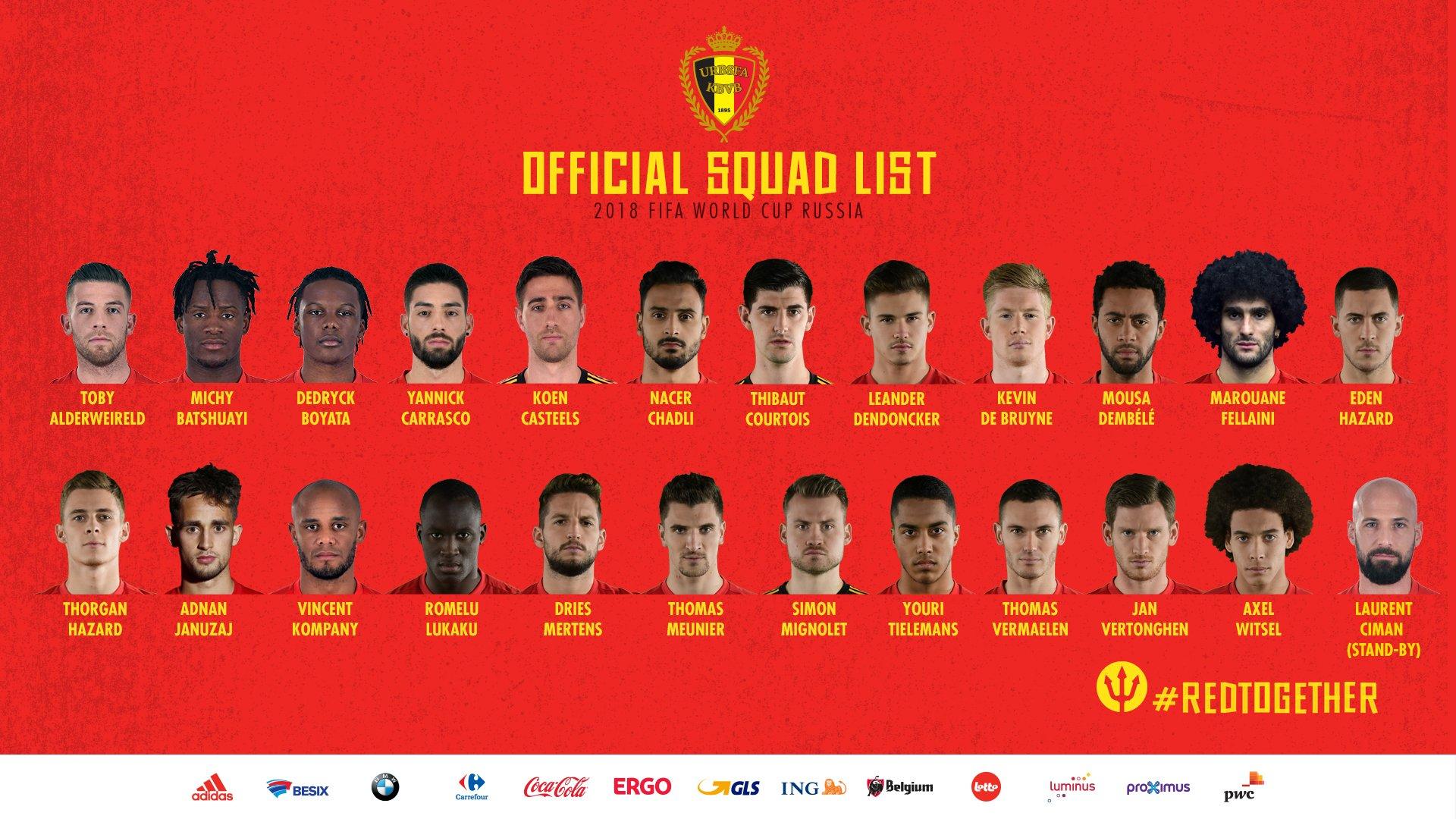 Der WM Kader von Belgien 2018.