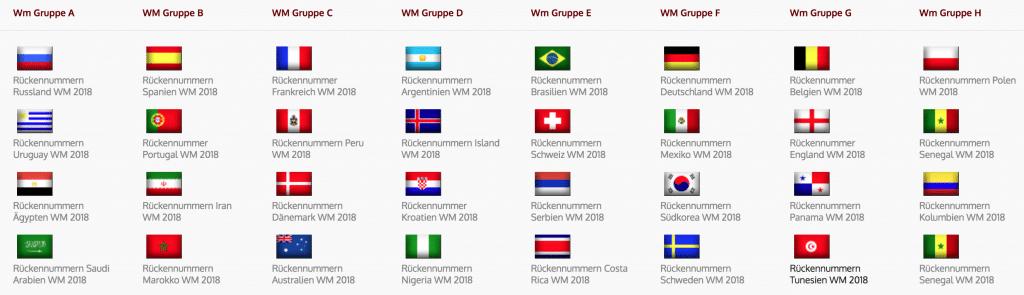 Hier alle WM Aufstellungen der WM-Teilnehmer 2018.