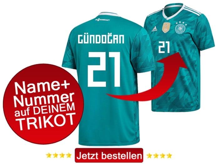 Das neue DFB Awaytrikot von Ilkay Gündogan mit der Rückennummer 21.