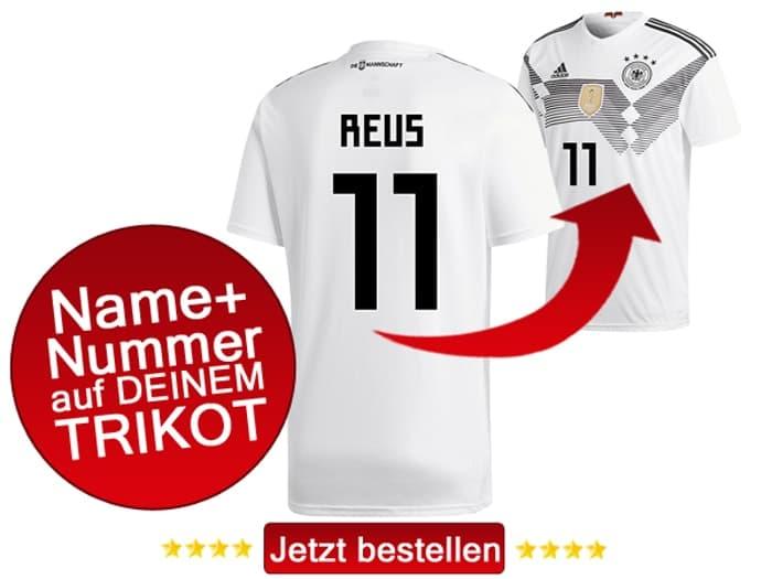 Das neue DFB Trikot mit Beflockung von Marco Reus mit der Nummer 11 kaufen.