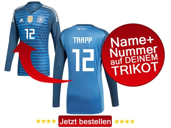 Kevin Trapp trägt die Nummer 12 im DFB Torwarttrikot 2018.