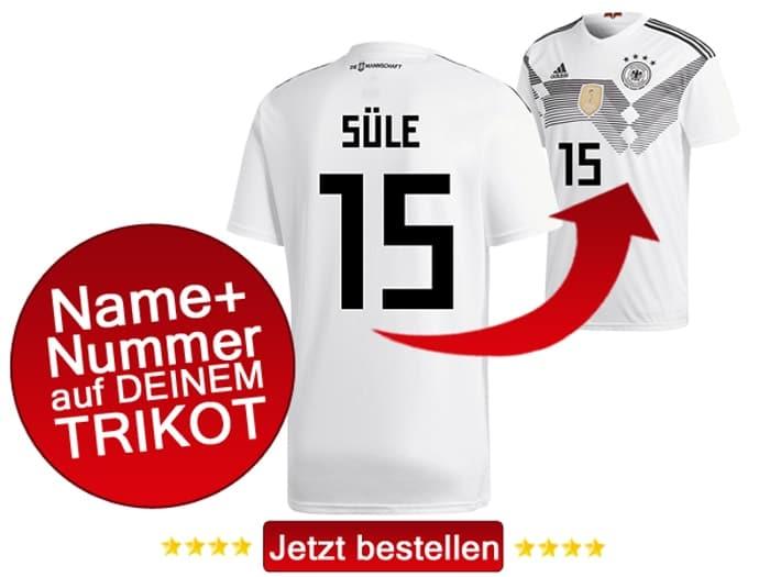 Das neue DFB Trikot mit Beflockung von Niklas Süle mit der Nummer 15 kaufen.