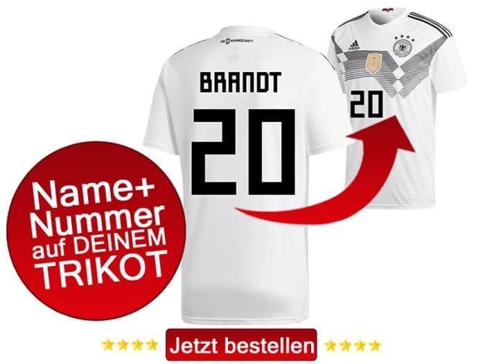 Die Nummer 20 hat Julian Brandt auf dem DFB Trikot 2018.