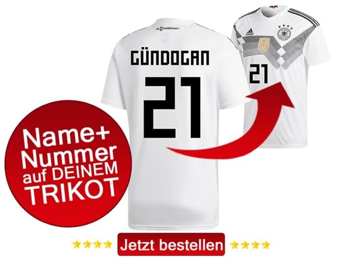 Das neue DFB Heimtrikot von Ilkay Gündogan mit der Rückennummer 21.
