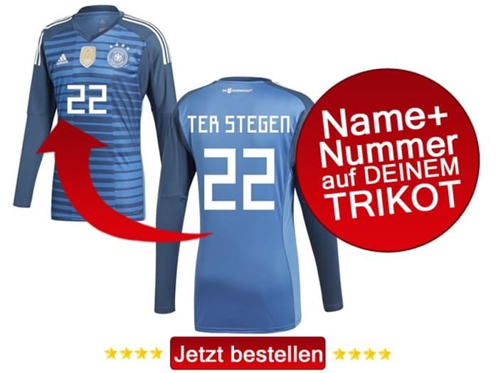 Die Rückennummer 22 auf dem DFB Trikot trägt bei der Fußball WM Marc André ter Stegen.