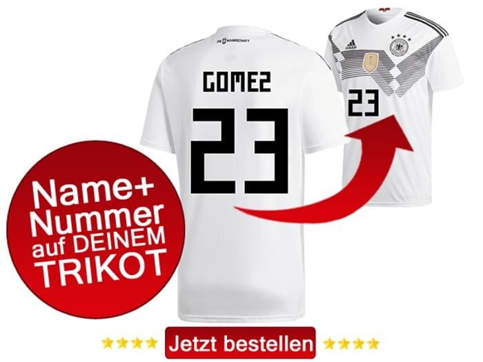 Das neue DFB Trikot mit Beflockung von Mario Gomez mit der Nummer 23 kaufen.