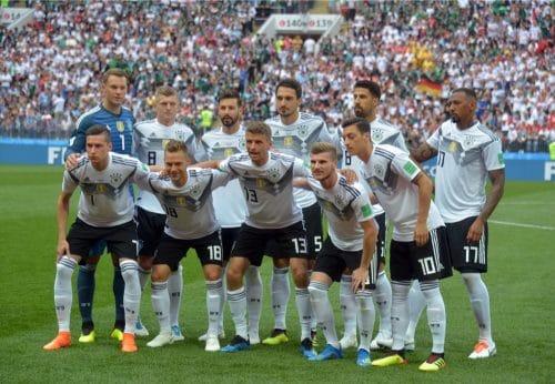 Die deutsche Startaufstellung gegen Mexiko beim 1.Gruppenspiel bei der Fußball WM 2018 – Deutschland verliert im weißen WM-Trikot mit 0:1. (Marco Iacobucci EPP / Shutterstock.com)
