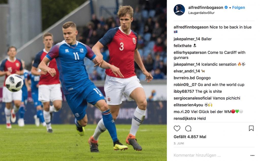 Alfred Finnbogadson hat die Nummer 11 im Island Trikot 2018.(Quelle: Instagram)