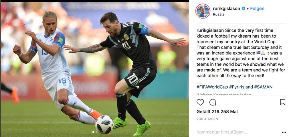 Rurik Gislason mit der Nummer 19 im Island Trikot 2018. (Quelle: Instagram)