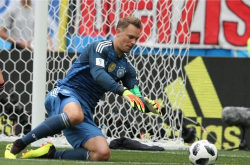 Manuel Neuer mit der Rückennummer 1 beim 1.WM-Spiel gegen Mexiko am 17.6.2018 (Marco Iacobucci EPP / Shutterstock.com)
