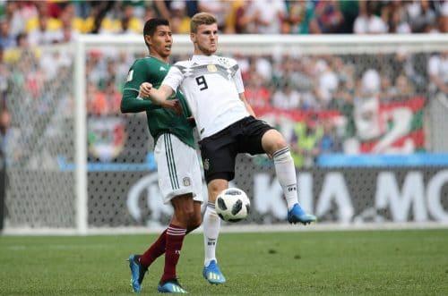 Timo Werner mit der Rückennummer 9 beim 1.WM-Spiel gegen Mexiko am 17.6.2018 (Marco Iacobucci EPP / Shutterstock.com)