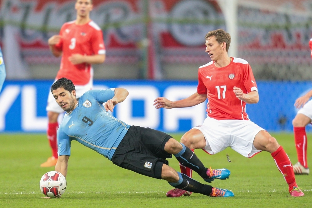 Luis Suarez mit der Nummer 9 im Trikot von uruguay. (Foto Shutterstock)