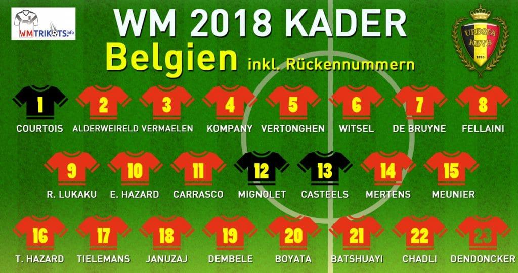 Das ist der WM Kader von Belgien mit allen Spielernamen und Rückennummern 2018.