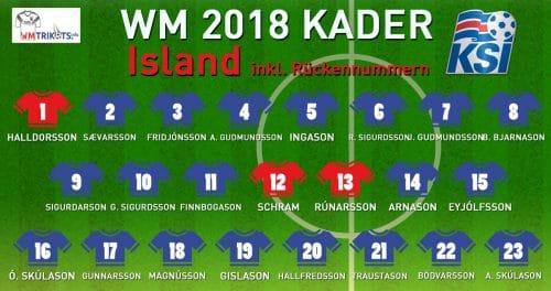 Das ist der WM Kader von Island mit allen Spielernamen und Rückennummern 2018.