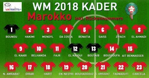 Das ist der WM Kader von Marokko mit allen Spielernamen und Rückennummern 2018.