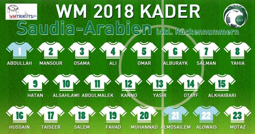 Der WM Kader 2018 von Saudi-Arabien mit allen Spielernamen und Rückennummern zur Fußball WM 2018.