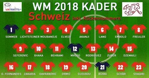 Der WM Kader 2018 von Schweiz mit allen Spielernamen und Rückennummern zur Fußball WM 2018.