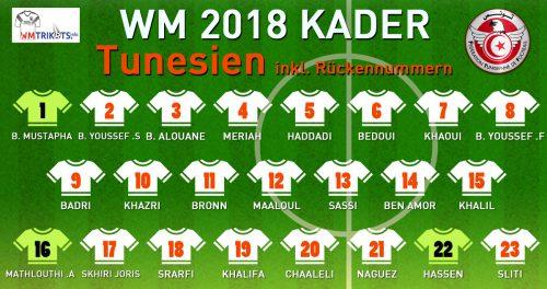 Der WM Kader 2018 von Tunesien mit allen Spielernamen und Rückennummern zur Fußball WM 2018.