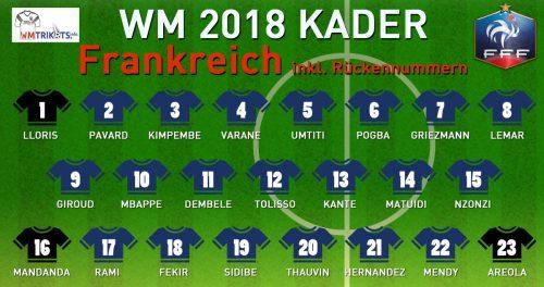 Das ist der WM Kader von Frankreich mit allen Spielernamen und Rückennummern 2018.Das ist der WM Kader von Frankreich mit allen Spielernamen und Rückennummern 2018.