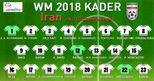 Das ist der WM Kader von Iran mit allen Spielernamen und Rückennummern 2018.