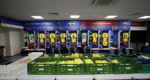 Ein Blick in die Kabine der Schweden vor einem WM-Spiel 2018.