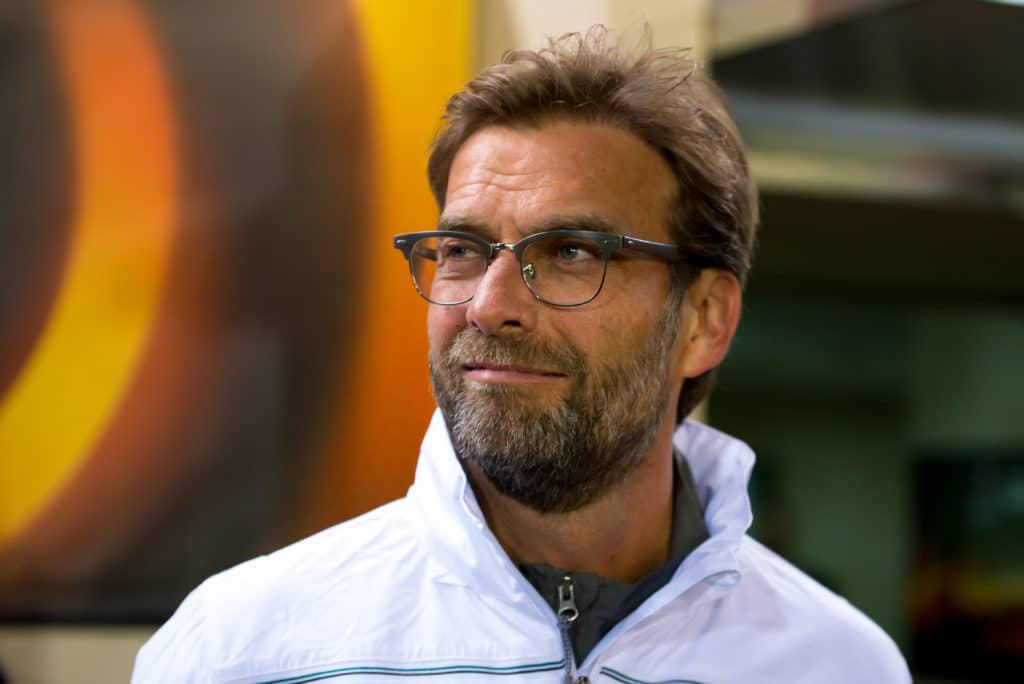 Liverpool Coach Jürgen Klopp 2016 in seiner ersten Saison bei den Reds im UEFA Europa League Halbfinale gegen Villareal. Photo: Shutterstock.