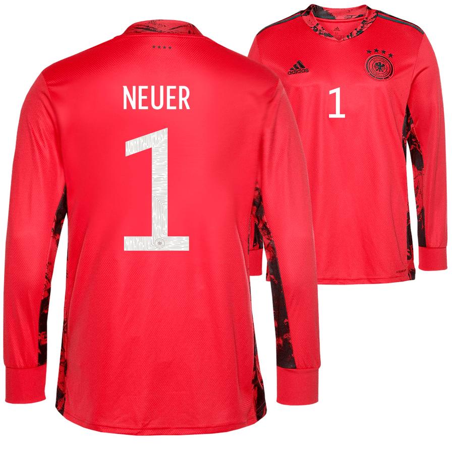 Das neue DFB Trikot mit der Nummer 1 von Manuel Neuer zur Fußball EM 2020.