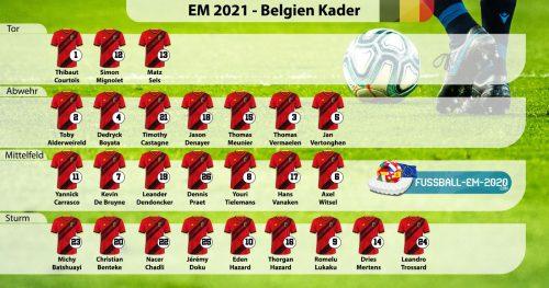 Belgien-Kader EM 2021 mit Trikotnummern